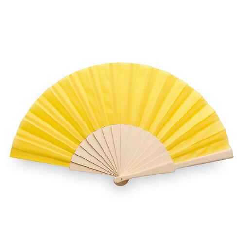 Waaiers-bedrukken-houten-handvat-geel