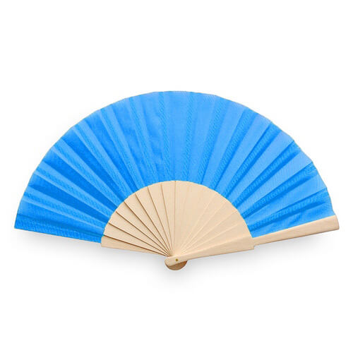 Waaiers-bedrukken-houten-handvat-lichtblauw